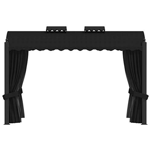Cenador de jardín, cenador con cortinas para cenas, barbacoas, reuniones familiares, 3 x 4 m, color negro