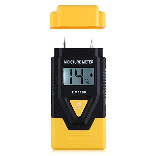 REFURBISHHOUSE MINI 3 en 1 Humidimetre pour Bois/Materiel de construction Humidimetre Numerique pour bois scie, materiaux trempes et temperature ambiante (Celsius/Fahrenheit) (jaune)