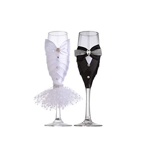 Vestido de boda vino glasses-ula novia y novio para copas de champán diseño tostado, compromiso, novia ducha regalos, inusual Regalos, Parejas Regalos, personalizada Regalos de boda (Set de 2)