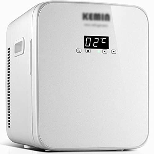 16L Hot and Fried Dual Energy Coche refrigerador, Mini refrigerador de doble uso para Dormitorio Coche y Hogar, Pantalla Digital AC/DC-16l (núcleo dual)_blanco b
