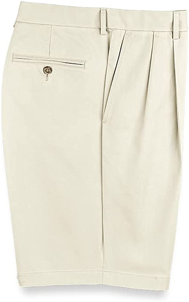 Paul Fredrick Men's Lightweight Impeccable Chino Pleated Short Stone 35 PSQ557S at  Men's Clothing store
