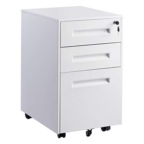 COSTWAY Rollcontainer Metall, Büroschrank mit 3 Schubladen, Aktenschrank abschließbar, Bürocontainer mit Kippschutzrad (Weiß)