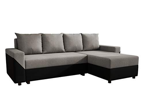 Ecksofa Degory, Eckcouch mit Schlaffunktion und Bettkasten für Wohnzimmer, Couch, L-Form Sofa, Seite Universal, Bettfunktion, Wohnlandschaft (Mikrofaza 0015 + Mikrofaza 0014)