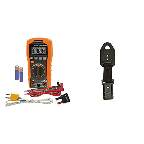 Klein Tools Digital Multimeter, Auto-Ranging, 600V MM400 & 69417 Rare Earth Magnetic Hanger, with Strap