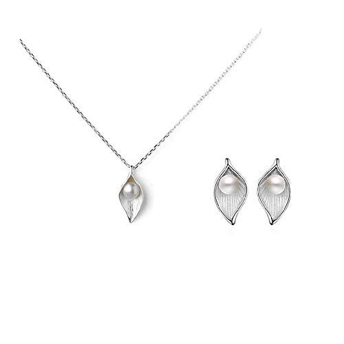 JYBSN Mujer 925 Collar De Perlas De Plata Esterlina + Pendientes Conjuntos De Joyería