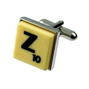 English Gems boutons de manchette Lettre Z x2 avec étui Noir