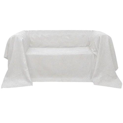 Micro-Suede - Manta para sofá (210 x 280 cm), color crema