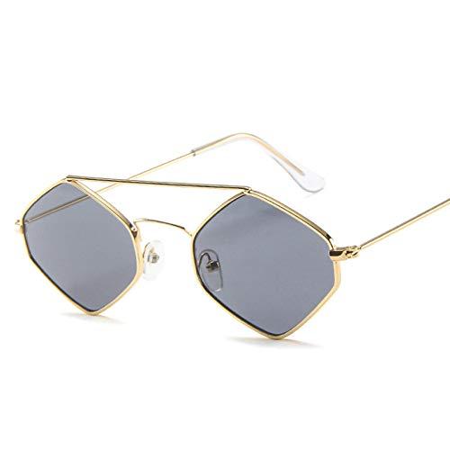 YTYASO Gafas de Sol de Moda para Mujer con Montura pequeña, Lentes Transparentes poligonales, Gafas de Sol para Hombre, Montura de Metal Hexagonal