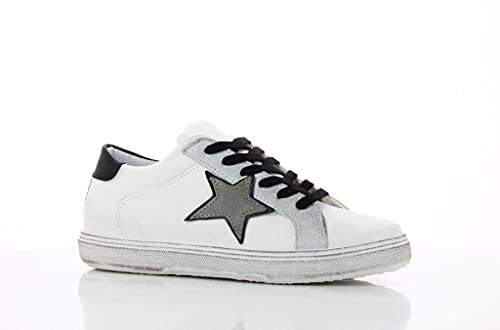 Zapatillas bajas de mujer blancas y negras con diseño de estrella gris, fondo alto, blanco / negro, 37 EU