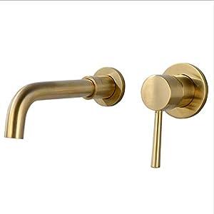 AXWT Lavabo de Oro Grifo de Agua Grifo de Hotel Baño de Agua fría y Caliente Oculto en la Pared En el Escenario Lavabo…