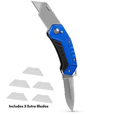 BirdRock Home Premium Folding Utility Knife with Sport Blade – Small Compact Pocket – Folding Box Cutter Tool – 5 Extra Razor Blades – Cut Cardboard Boxes – Locking Safety Knife Set – Heavy Duty
