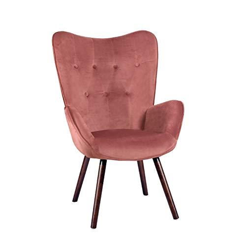 MEUBLE COSY fauteuil design scandinave poltrona velluto,legno rose velours 68 x 73 x 106 cm