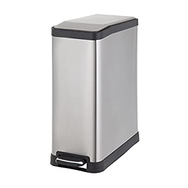 Home Zone Rectangular Step Trash Can - 12 Gallon / 45 Liter Stainless Steel Trash Bin (VA41311A)