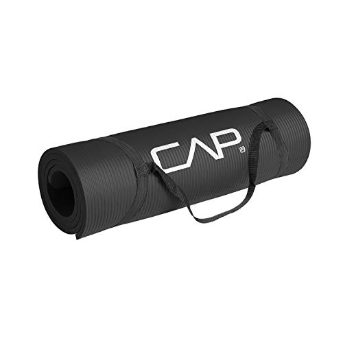 CAP Barbell High Density 15mm Large Exercise Mat with Carrying Strap, Black