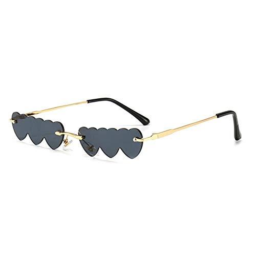 ZZOW Gafas De Sol Rectangulares Sin Montura con Forma De Corazón Y Amor para Mujer, Gafas De Sol De Marca De Diseñador con Lentes Transparentes para El Océano, Gafas De Sol para Mujer