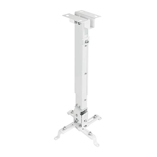 TooQ PJ2012T-W - Soporte de techo inclinable para proyector, ajustable 130 o 430 hasta 650mm, inclinacion +/- 15º, blanco