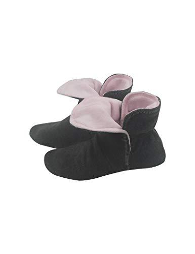 RAIKOU Hausschuhe für Damen, Herren für drinnen aus Micro Fleece mit ABS und Rutschfester Sohle,Haussocken Stoppersocken mit Super Flauschige Hüttenschuhe (Zinn/Rosa,40/43)