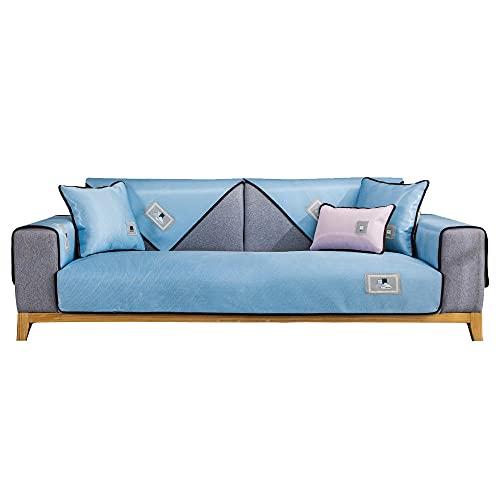 YUTJK Sofá de Seda de Hielo de Verano Lavable,Funda De Sofá para Mascotas Perro,Composable Antideslizante Resistente Anti-Suciedad Sofá Cubierta,Azul_70×180cm