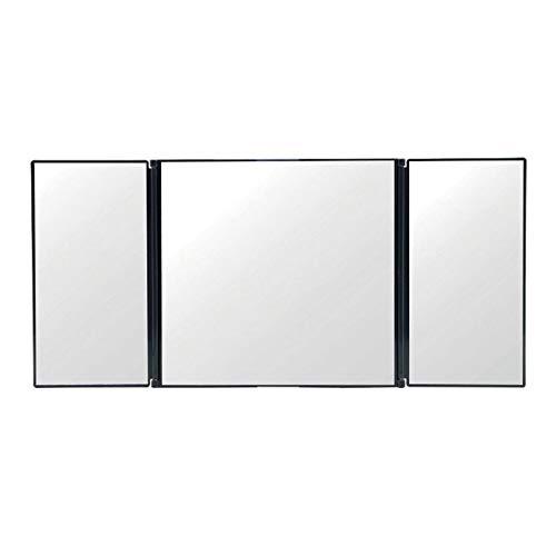 QiKun-Home Espejo de tocador de Coche Espejo cosmético Plegable de 3 Secciones Espejo de Visera de Coche con protección Solar automática Espejo de Maquillaje automático Ajustable Negro