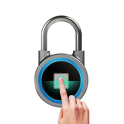 Candado de huellas dactilares, control de la aplicación de la aplicación móvil Candado de seguridad, Candado antirrobo sin llave impermeable USB recargable IP65para gabinete, maleta de equipaje,Azul