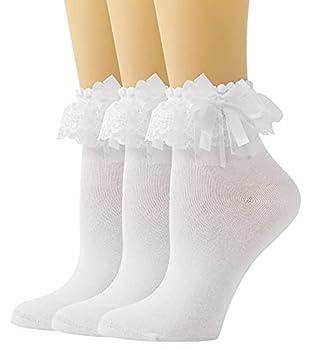 SEMOHOLLI Women Ankle Socks,Lace Ruffle Frilly Comfortable Princess Socks Lace Socks  3 Pairs-white
