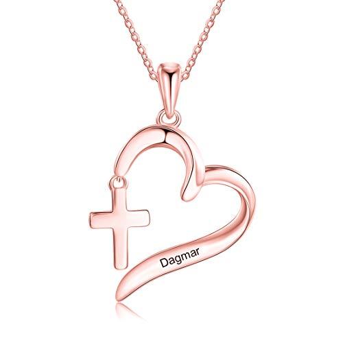 Collar De Corazón Con Nombre Grabado En Plata 925 Con Cruz Collar De Madre Simple Personalizado Cumpleaños Día De La Madre Collar De Compromiso De Aniversario Para Mujer(Oro rosa 18')