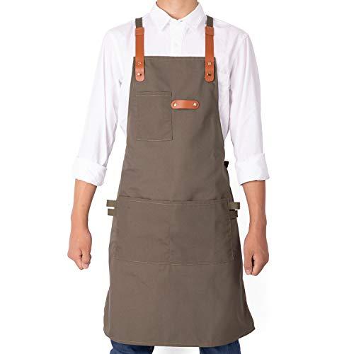 NEOVIVA Lustige Grillschürze für Damen, Herren, Chefkoch mit Mehrzweck-Werkzeugtaschen, leichte Kochschürzen, für Küche, Restaurant, Bistro und Werkstatt, mit verstellbaren Kreuz-Rückengurten