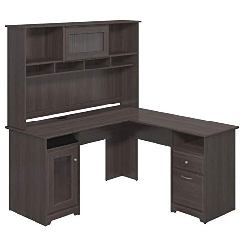 Bowery Hill Home Office L-Shape Computer Desk with Hutch in Gray