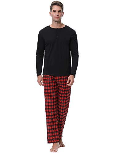 Aibrou Pijama Hombre Algodón Invierno Largo,Pijamas Cuadros Ropa de Dormir Causal Camiseta y Pantalones Cómodo cálido Talla S-XXL