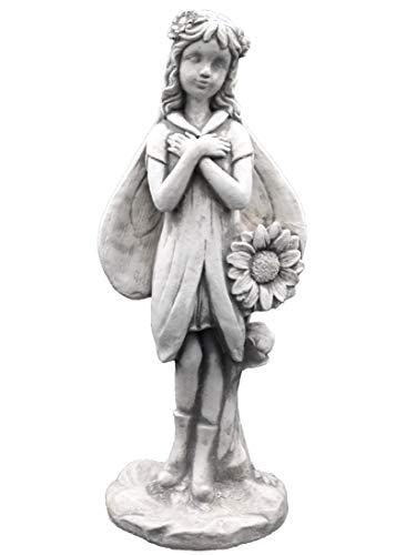 gartendekoparadies.de Massive Steinfigur Elfe mit Sonnenblume Fee Steinguss frostfest Raumdeko Gartendeko