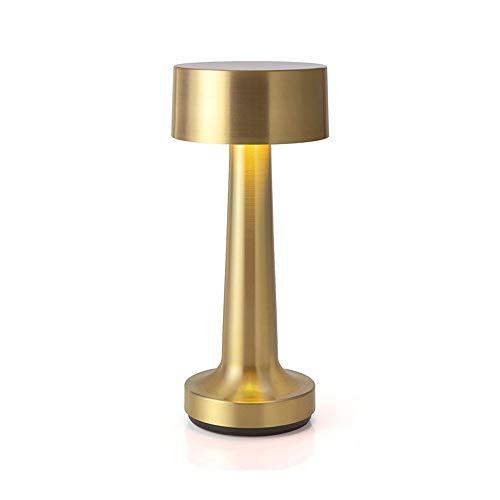 LLDKA Lámparas de Mesa Lámpara de Mesa Vintage Bar, Luces de Noche LED Recargable habitación Escritorio portátil de la batería del Soporte de Las Luces del Restaurante,Oro,Button Switch