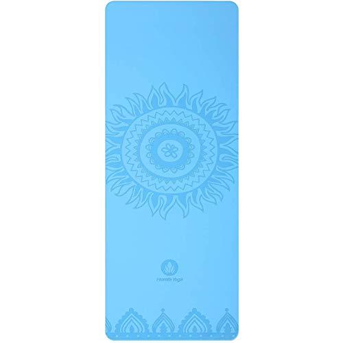 Homfa Esterilla de Yoga Antideslizante 2-in-1 de Tapete y Toalla Yoga Mat Sudor Absorbente Colchoneta de Gimnasia de PU y Caucho Natural con Double Capas 4.0 mm de Grosor 185 x 68 de Color Azul