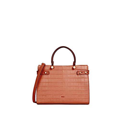 FURLA Bag 1927 Mini Shoulder Bag in Genuine Leather Crocodile Print Black 23 x 14 x 4.5 cm