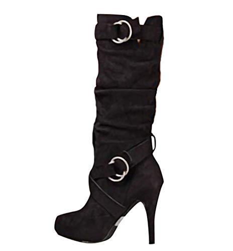 Minetom Damen Stiefeletten Worker Boots Übergrößen Damen Schnürstiefeletten Mit Blockabsatz Spitze Zipper Schwarz 36 EU