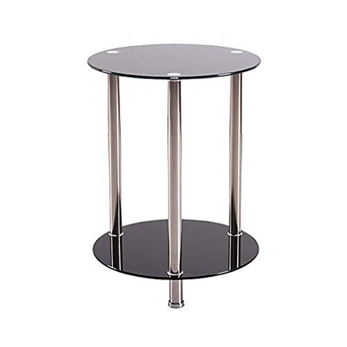 FACAIA Tavolo Nero Rotondo Piccolo a 2 Piani in Vetro |Tavolino da caffè con ripiano Laterale per Divano Letto |Gambe in Acciaio Inossidabile con superfici in Vetro temperato, P45xH67cm