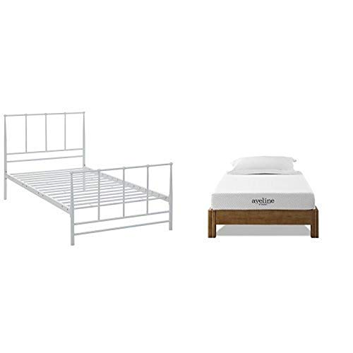 """Modway Estate Bed, Twin, White with Modway Aveline 6"""" Gel Infused Memory Foam Twin Mattress With CertiPUR-US Certified Foam"""