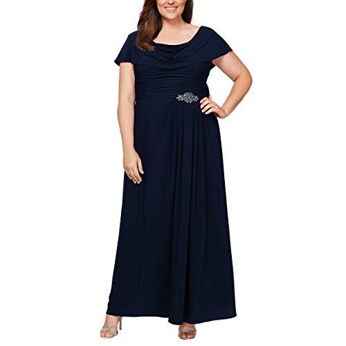 Alex Evenings Women's Plus Size Long Cowl Neck A-Line Dress, Navy, 20W (Apparel)