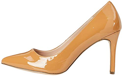 Marca Amazon - find. High Heel Point Court Zapatos de tacón con Punta Cerrada, Braun (Caramel (Nude), 39 EU