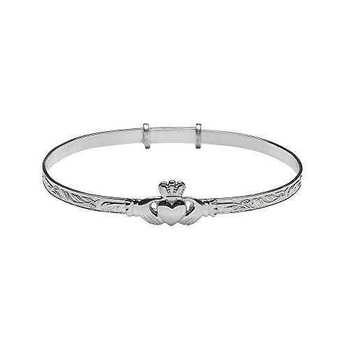 Irish Claddagh Bracelet Made in Ireland Sterling Silver Large Adjustable Bangle Style Fits Most Women Made in Co. Dublin by Maker-Partner Solvar