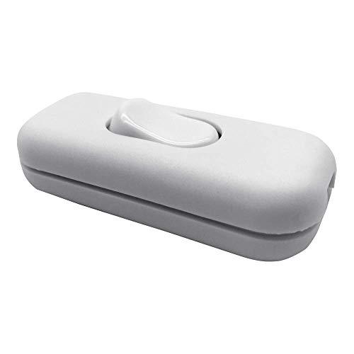 FUJIE Zwischenschalter 2-polig 6A 250V Weiß Schnurschalter mit Wippe EIN/AUS Schnurzwischenschalter 2 oder 3 Core Schnur