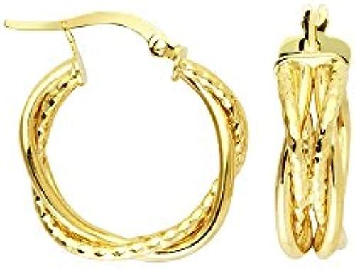 14  Gelb Gold High Polish und strukturierte Tube geflochten Creolen
