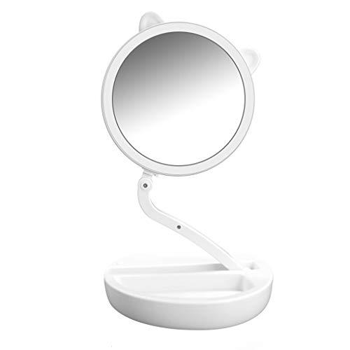 Miroir de maquillage éclairé avec lumière, Miroir de coiffeuse Beautifive LED, Miroir grossissant double face avec luminosité, design intelligent réglable en hauteur et à 180 °, Pliage de miroir de vo