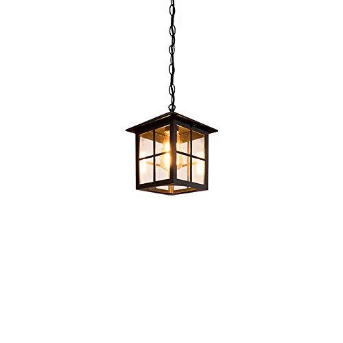 Chandelier de granja IP44 Vintage al aire libre Linterna de bronce Lámpara colgante de techo Aluminio con vidrio claro Retro Villa Balcón Patio Pasador Pasillo Aisle Decoración Jardín Exterior Lámpara