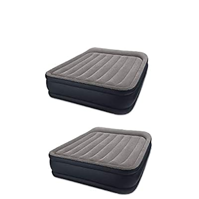 Intex Deluxe Raised Blow Up Air Bed Mattress with Built In Pump, Queen (2 Pack)