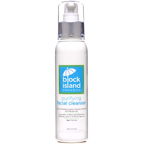 Block Island Organics Purifying Facial Cleanser with Vitamin C & E Natural Anti-Aging Anti-Oxidants - EWG Top Rated - Gentle Moisturizing Organic Daily Face Wash for Dry, Oily & Sensitive Skin - 4 OZ
