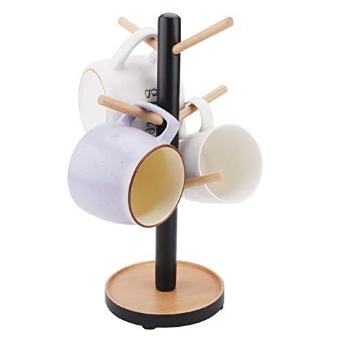 Árbol de madera para tazas, Soporte para tazas de madera con 6 ganchos, organizador de mesa, soporte de exhibición, suministros de cocina para té, café, tazas, ganchos para tazas Black