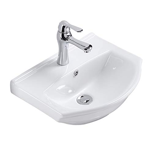 Renovators Supply Tahoe Small Wall Mounted Bathroom Sink 17.75 Inches White Ceramic Arc Basin Gloss Porcelain Floating Wall Hung Vessel Sink Space Saving Vessel With Overflow And Single Faucet Hole