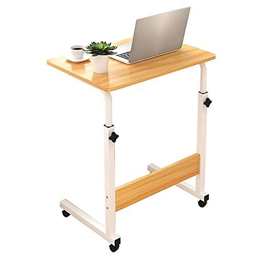 Mesita de noche ajustable con ruedas, mesa de trabajo para computadora portátil, mesa de sobrecama médica, bandeja de aperitivos para comida, mesa de mesa de mesa de mesa con ruedas