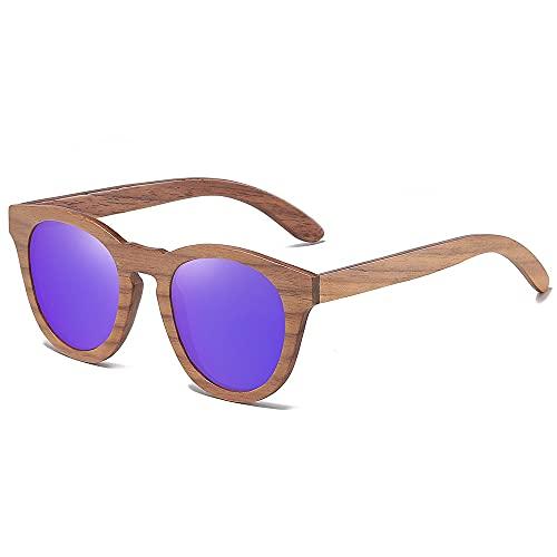 NIUBKLAS Gafas de sol de madera de nogal para hombres Gafasde solpolarizadas BambooOculos de sol masculino feminino S855 Purple