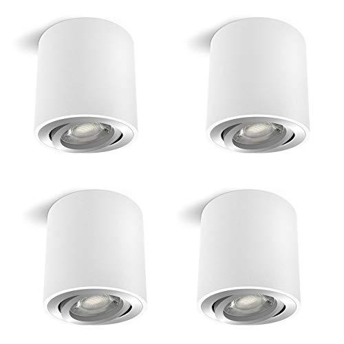 4 Stück linovum CORI schwenkbare Aufbaustrahler weiß & silber im Set - runder Deckenstrahler geeignet für GU10 & LED Module